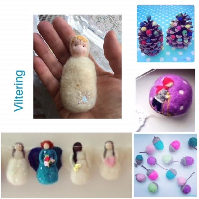 vilten van zelfgemaakte poppetjes eikels en andere kleine kunstwerkjes van vilt